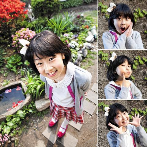 """""""아이 부끄러운데~"""" 김환희 양은 수줍어하던 모습과 달리 사진 촬영이 시작되자 다양한 표정과 포즈를 취하며 끼를 보였다."""