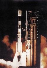 '우리별 1호'를 탑재한 로켓이 성공적으로 발사되는 모습.