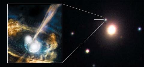 남아공 관측소가 포착한 중성자별 충돌에 의한 중력파 관측 사진(오른쪽)과 가상도./한국천문연구원 제공