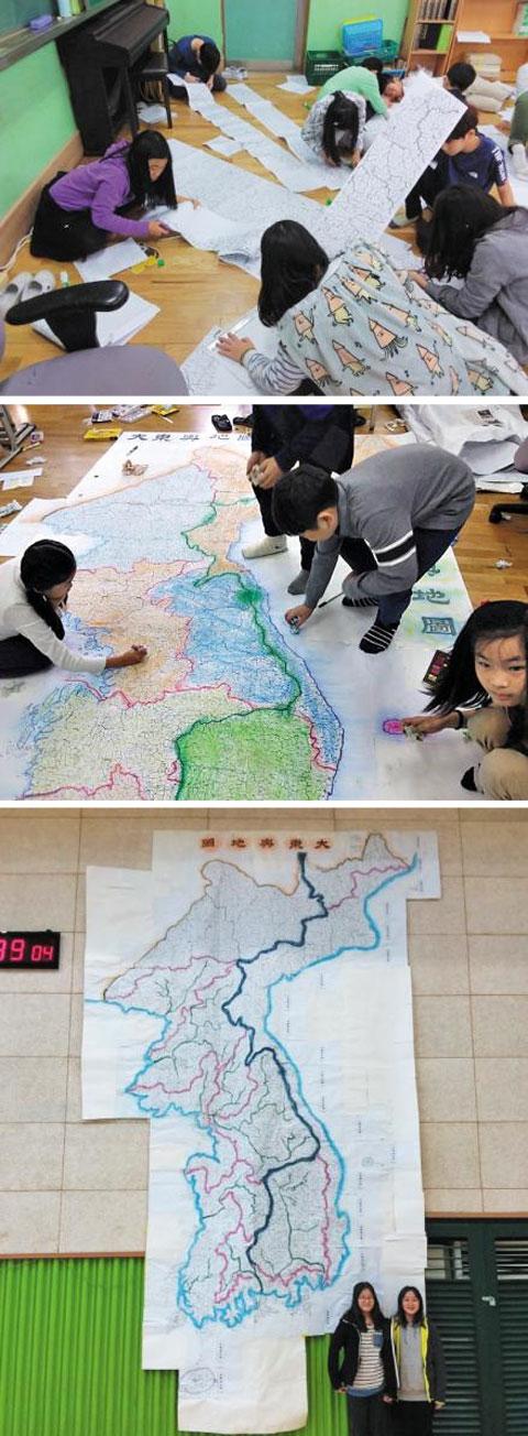 (위 부터)층별로 지도를 이어붙이는 단계. 어린이들이 지도에 색칠을 하고 있다. 완성작 앞에서 기념사진을 찍는 어린이들.