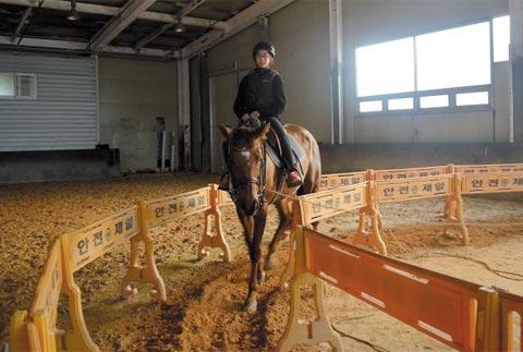 안서초 여학생이 승마 수업에서 말을 타보고 있다.