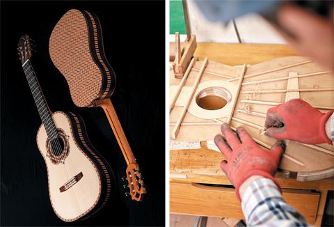 (사진 왼쪽)최동수 장인이 만든 53번째 작품인 'TE-53'. (오른쪽)기타 음색을 조율하기 위해 기타 내부의 살을 조금씩 깎는 모습.