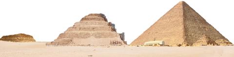 △피라미드의 변화 모습. 마스타바(맨 왼쪽)는 피라미드 등장 이전 이집트 귀족의 무덤이었다. 진흙 벽돌이나 돌을 쌓아 측면은 비스듬하게 만들고, 지붕은 평평하게 쌓았다. 조세르 왕의 계단식 피라미드(가운데)는 태양신의 아들이 죽은 뒤 계단을 밟고 하늘로 올라가도록 계단식으로 만들었다. 쿠푸 피라미드는 이집트에서 가장 크고 오래된 피라미드다.
