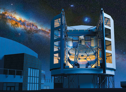 칠레에 건설 중인 지름 25m의 '거대 마젤란 망원경'(GMT·Giant Magellan Telescope).
