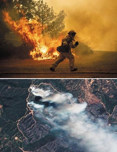 지난달 31일 캘리포니아주 레이크포트에서 한 소방관이 산불을 진압하기 위해 뛰어가고 있다. 작은 사진은 지난 3일 위성에서 촬영된 리버 파이어 산불의 모습. 거대한 연기구름이 삼림을 뒤덮고 있다.