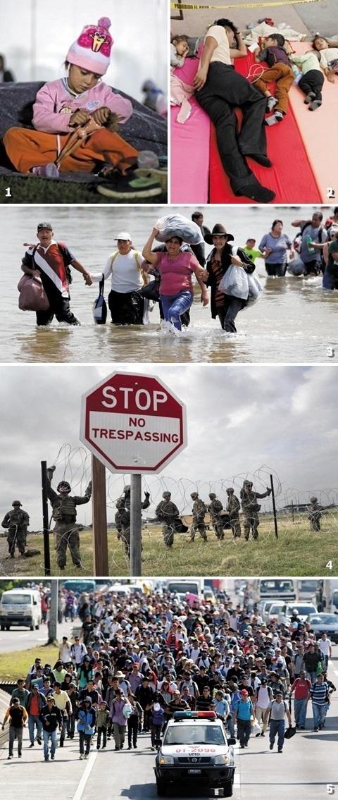 ①네 살 온두라스 어린이가 멕시코시티에 마련된 캠프에서 인형을 가지고 놀고 있다. ②이민자 가족이 멕시코시티 팔릴로스타디움의 차가운 매트 위에서 깊은 잠에 빠져 있다. ③제3차 캐러밴 이민자들이 지난 4일 멕시코와 과테말라의 국경인 수치아테 강을 건너고 있다. ④지난 4일(이하 현지 시각) 미국 군인들이 미국 남부 텍사스 주에서 가시 철조망을 설치하고 있다. ⑤'아메리칸 드림'을 꿈꾸며 미국으로 여정을 떠나는 엘살바도르 이민자들./ AFP·로이터·EPA 연합뉴스