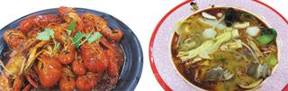 '마라'를 활용한 음식 '마라룽샤'(왼쪽)와 '마라탕'.
