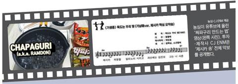 농심이 유튜브에 올린 '짜파구리 만드는 법'영상(윗쪽 사진). 투자·제작사 CJ ENM은 '제시카 송' 전체 악보를 공개했다.
