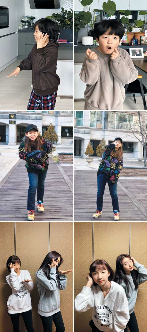 가수 지코의 신곡 '아무노래'에 맞춰 춤을 추고 영상을 촬영해 소셜미디어에 올리는 '아무노래챌린지'가 최근 초등생 사이에서 인기다. 사진은 '아무노래챌린지'에 참여한 초등학생들의 모습.