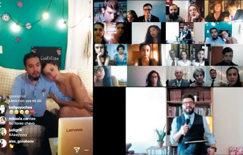 온라인 결혼식을 하는 디에고 아스피티아·소피아 쿠기노(왼쪽 사진)와 라이브 방송에 모인 하객들./Lucas Magnin 유튜브 화면