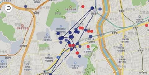 코로나19 확진자의 동선이 서울시 지도에 표시돼 있다./'우리동네 코로나19 지도' 홈페이지 화면
