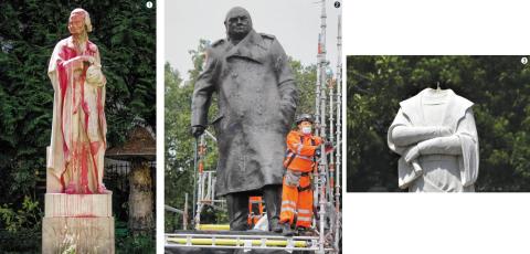 1.지난 22일(현지 시각) 프랑스 파리 한복판에서 붉은 페인트를 뒤집어쓴 볼테르 동상. 2.17일 영국 런던 팔러먼트 광장에서 관계자들이 윈스턴 처칠 전 총리의 동상을 덮고 있던 가림막을 걷고 있다. 앞서 영국 당국은 동상 훼손을 우려해 처칠 동상을 보호판으로 가려놨었다. 3.미국 매사추세츠주(州) 보스턴에서는 크리스토퍼 콜럼버스 동상의 머리 부위가 떨어져 나갔다./ EPA·AFP·AP 연합뉴스