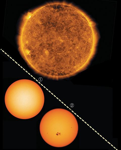 지난달 29일 포착된 태양 폭발 모습. 2017년 10월 이후 가장 큰 규모의 폭발이었다. ①2018년 2월의 태양. 활동이 잠잠해진 태양 표면에서 흑점을 찾아볼 수 없다. ②태양 활동이 활발했던 2014년, 태양 표면에 흑점이 나타났다. / NASA 제공