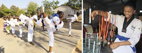 짐바브웨에 사는 마리샤가 자신이 딴 태권도 메달을 보여주며 웃는 모습(오른쪽 사진). 마리샤는 어린 여자아이를 강제로 결혼시키는 풍습을 없애고 소녀들에게 용기를 주기 위해 마을에서 태권도를 가르치고 있다. /AP 연합뉴스