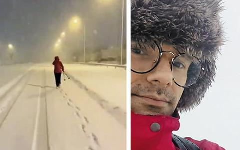 동료를 위해 눈 속을 걸어 병원으로 출근하는 스페인 의료진이 감동을 주고 있다. 사진은 눈 쌓인 길을 걷는 의료진의 뒷모습(왼쪽)과 라울 알코호르의 모습./트위터 영상 캡처·SER 홈페이지