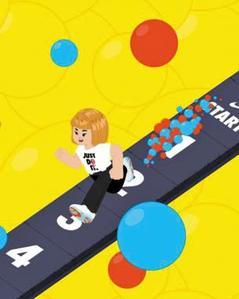 카카오와 나이키가 만든 운동 앱 '조이런 마블' 캐릭터가 달리는 장면./나이키 홈페이지