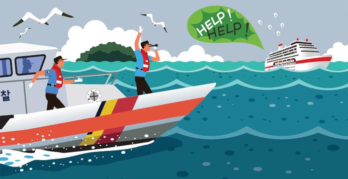 [안전은 내 친구] 바다로 탈출 후 '생존 수영'하며 구조 기다려요